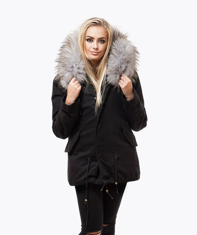BLACK LUXY FUR PARKA - DOVE GREY