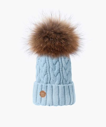 Bailey Pom Pom Hat - Baby Blue