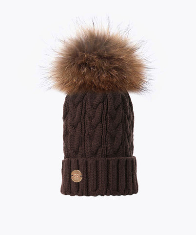 Bailey Pom Pom Hat - Chocolate