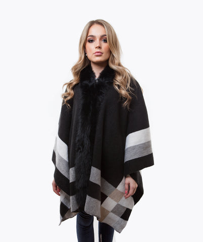 Wool & Fox Fur Cape - Black