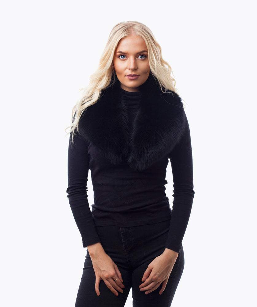 BLACK FOX FUR COLLAR - BLACK