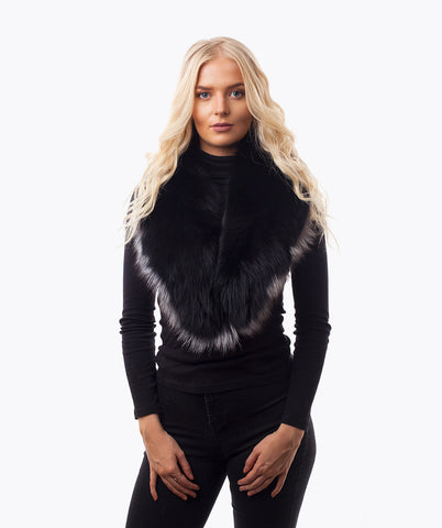BLACK & SILVER FOX FUR COLLAR - LIMITED EDITION