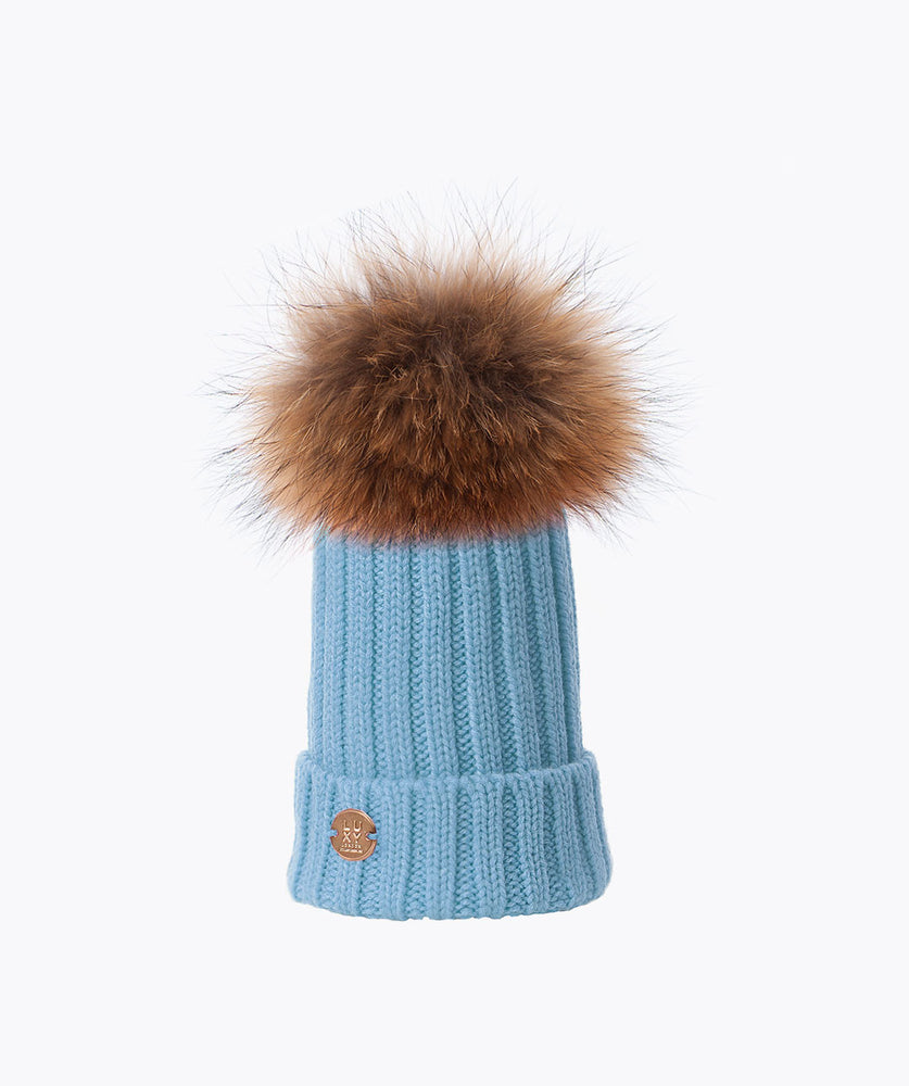 KIDS POM POM HAT - BABY BLUE