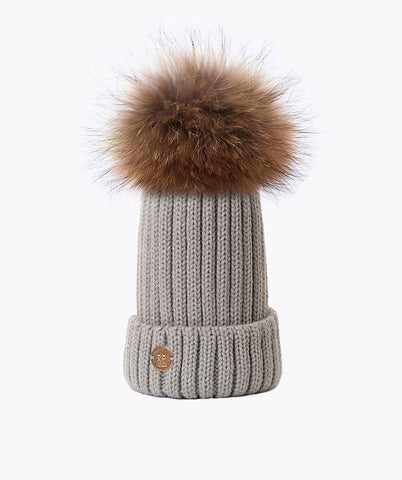 Carlton Pom Pom Hat - (Chunky Knit) Light Grey