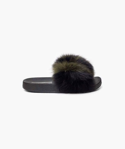 LIMITED EDITION LUXY FOX FUR SLIDERS - FOREST