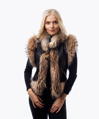 FOX FUR & LEATHER GILET - BLACK & NATURAL