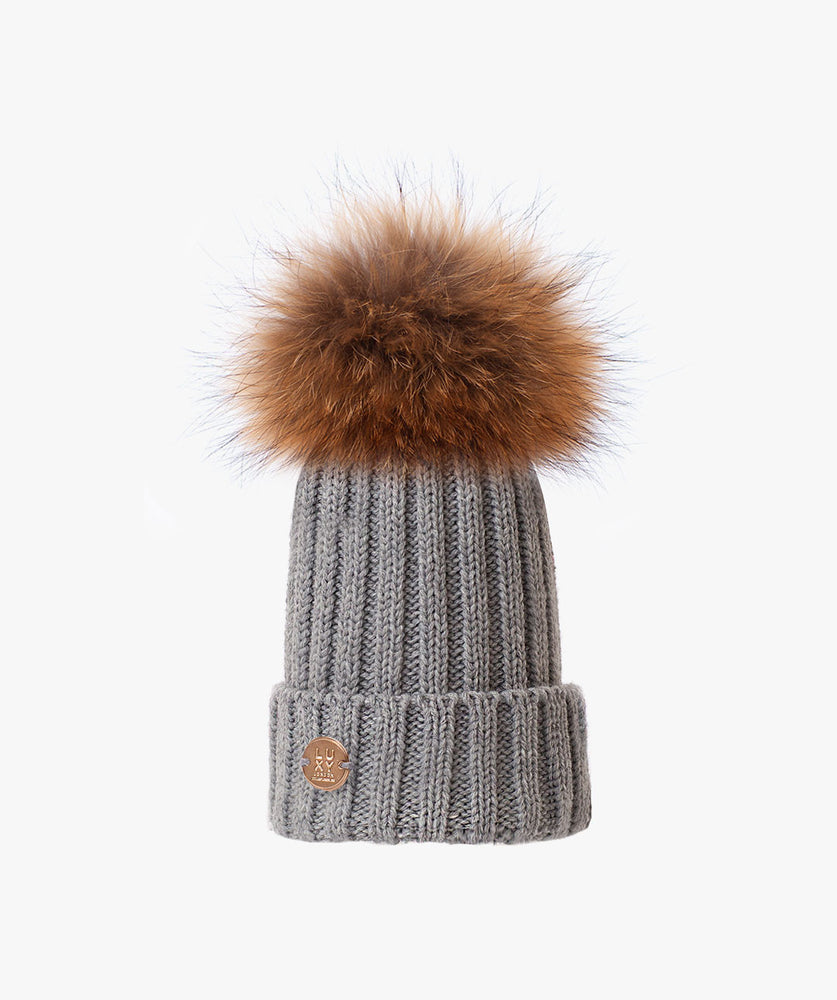 KIDS POM POM HAT - GREY