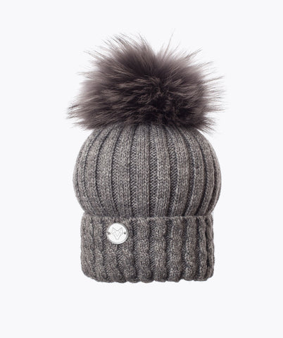 BOSTON POM POM HAT - GREY