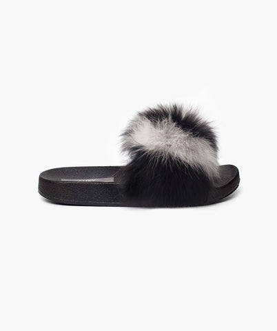 LIMITED EDITION LUXY FOX FUR SLIDERS - HUMBUG