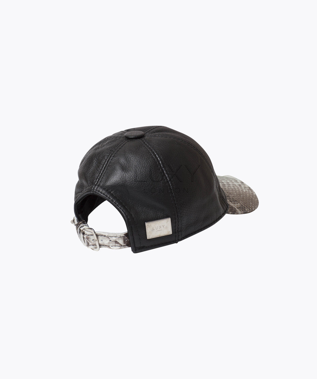 PYTHON & LEATHER CAP - NATURAL