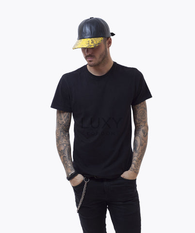 PYTHON & LEATHER CAP - YELLOW
