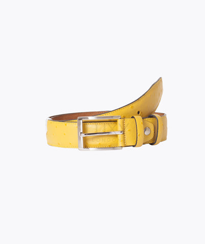 OSTRICH LEATHER BELT - YELLOW