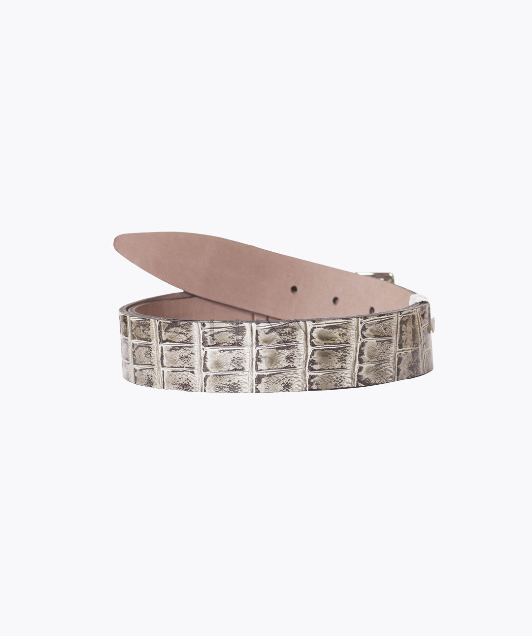 ALLIGATOR LEATHER BELT - MARBLE GREY