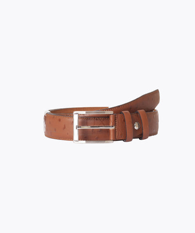 OSTRICH LEATHER BELT - TAN