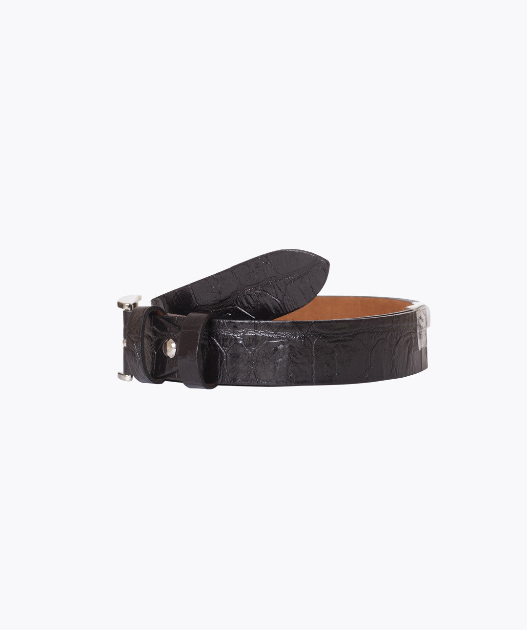 ALLIGATOR LEATHER BELT - BLACK