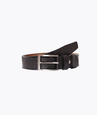CROCODILE LEATHER BELT - BLACK