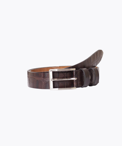 ALLIGATOR LEATHER BELT - DARK BROWN