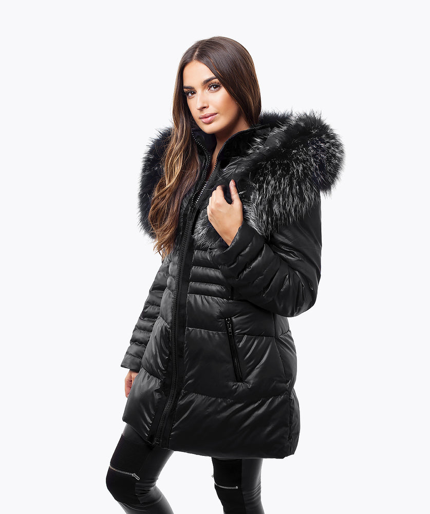BLACK QUILTED JACKET - OVERSIZED MIST