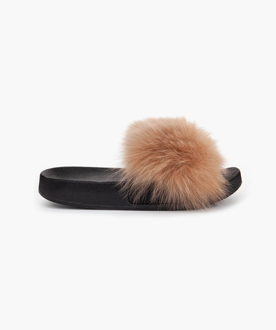 NEW : LUXY FOX FUR SLIDERS - MOCHA