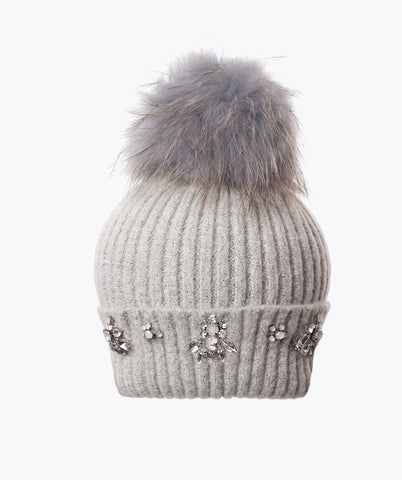 MADDISON POM POM HAT - LIGHT GREY