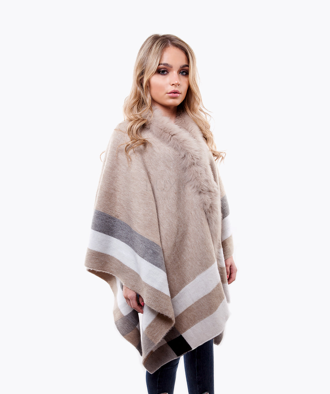 Wool & Fox Fur Cape - Oatmeal