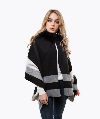 Wool & Fox Fur Hooded Cape - Black