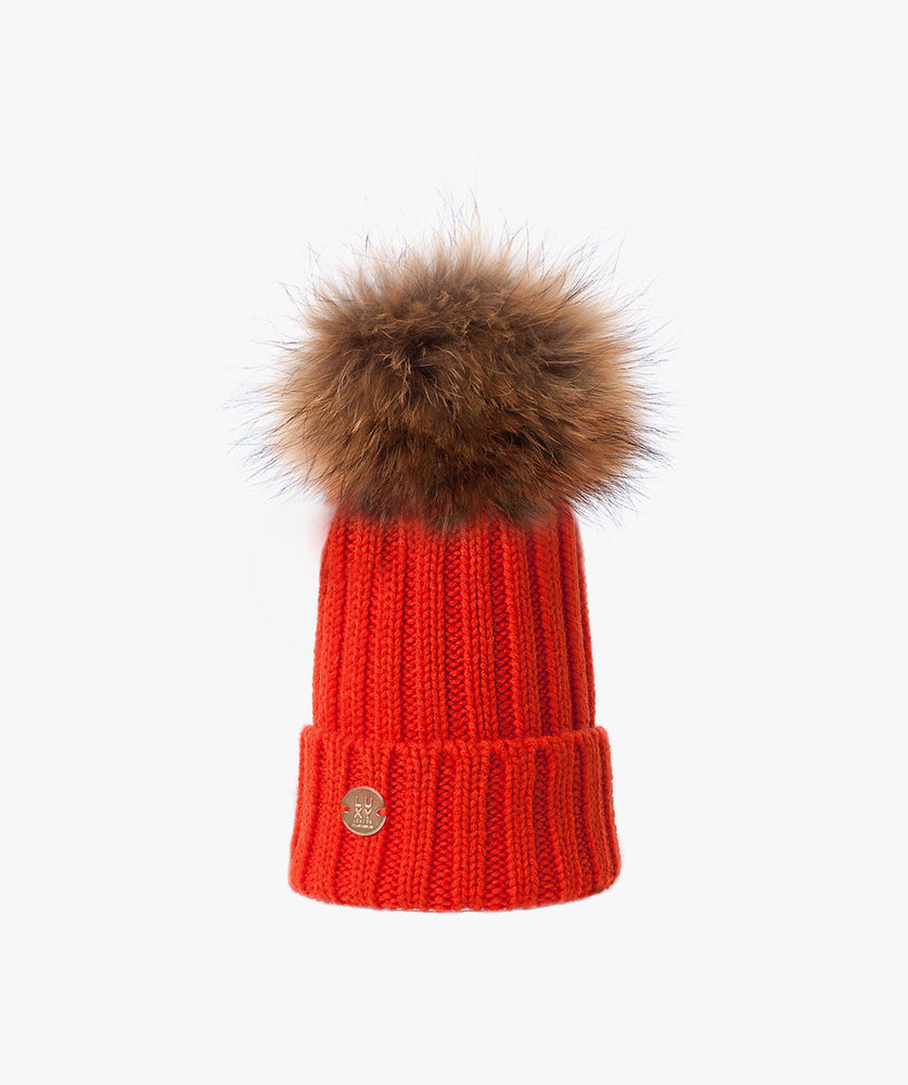 KIDS POM POM HAT - ORANGE