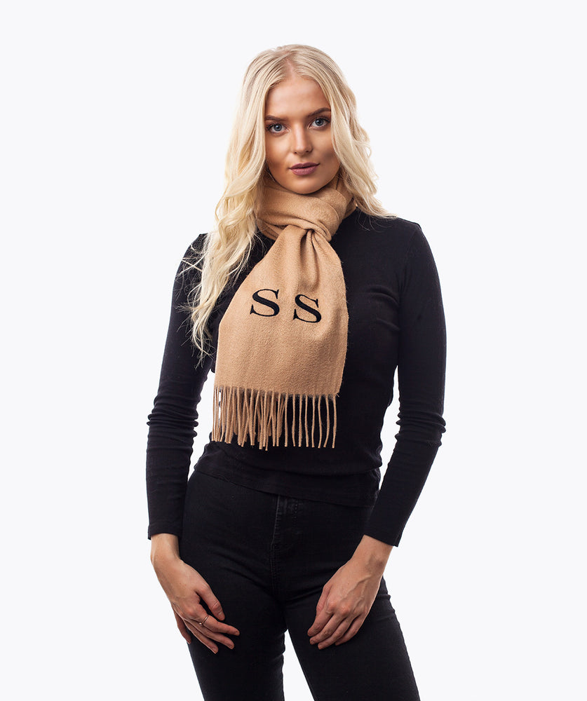 PERSONALISED MONOGRAMMED CASHMERE SCARF - CAMEL