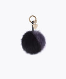 FOX FUR POM POM KEYRING - SMOKY