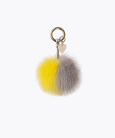 FOX FUR POM POM KEYRING - LEMON SWIRL