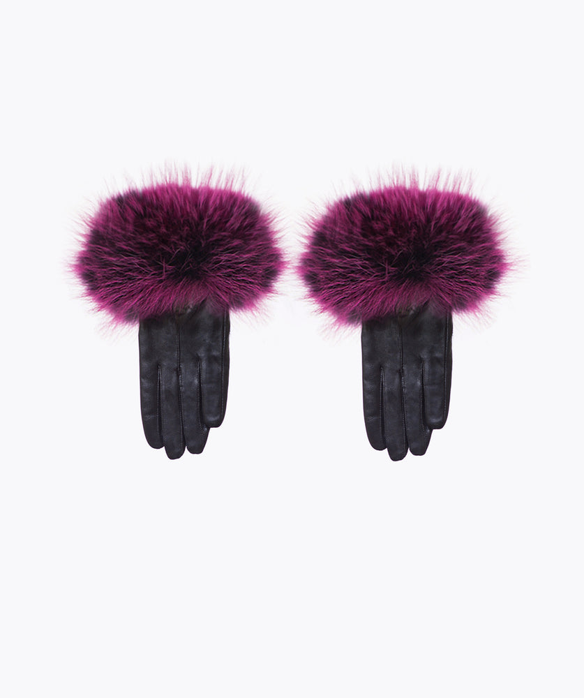Purple Leather and Fox Fur Gloves