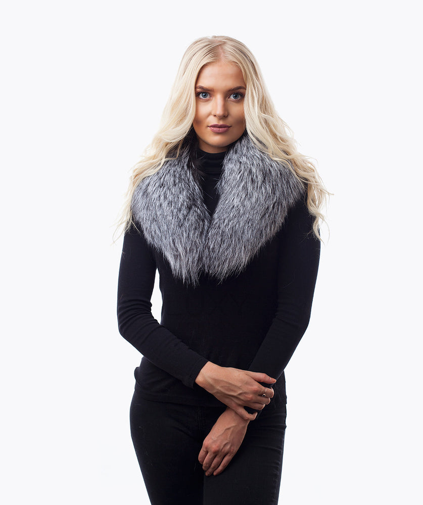 ARCTIC FOX FUR COLLAR - SILVER