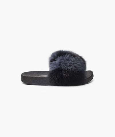 LIMITED EDITION LUXY FOX FUR SLIDERS - SMOKY STEEL
