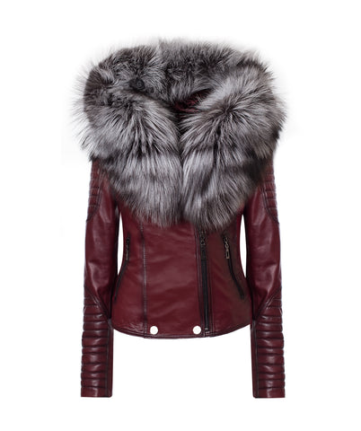LUXY BIKER - BORDEAUX LEATHER & SILVER FOX