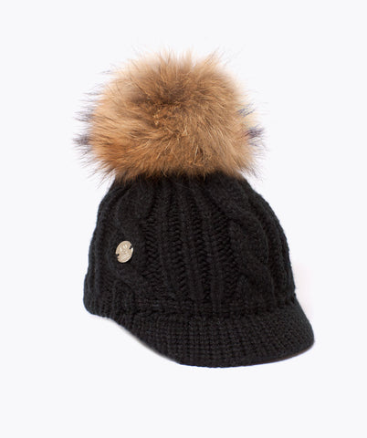 Belle Wool Pom Pom Cap - Black
