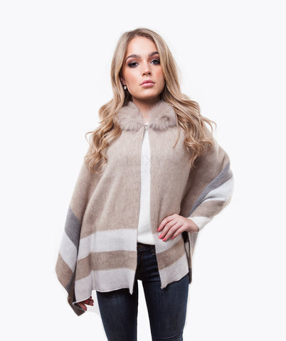 Wool & Fox Fur Hooded Cape - Oatmeal
