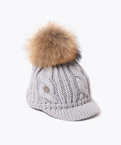 Belle Wool Pom Pom Cap - Grey