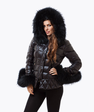 Black Quilted Down Jacket - Black