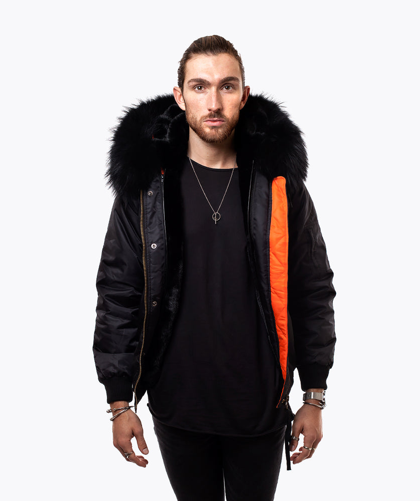 BLACK LUXY MENS BOMBER - BLACK