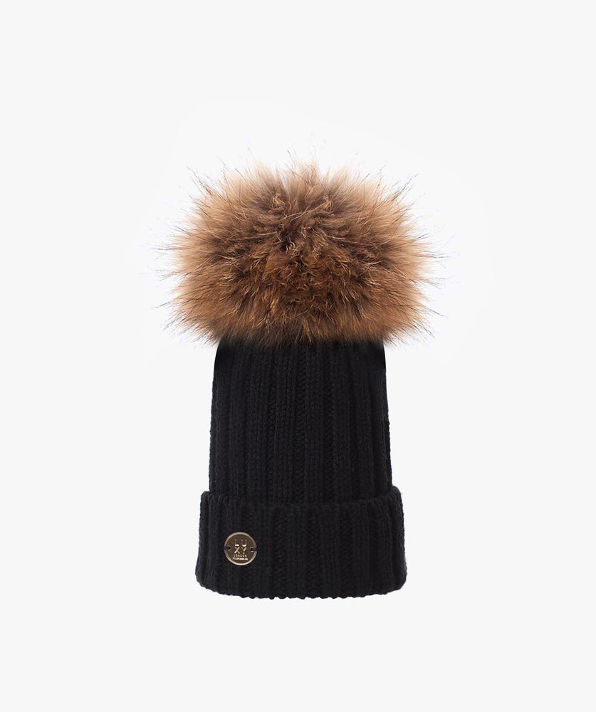 KIDS POM POM HAT - BLACK