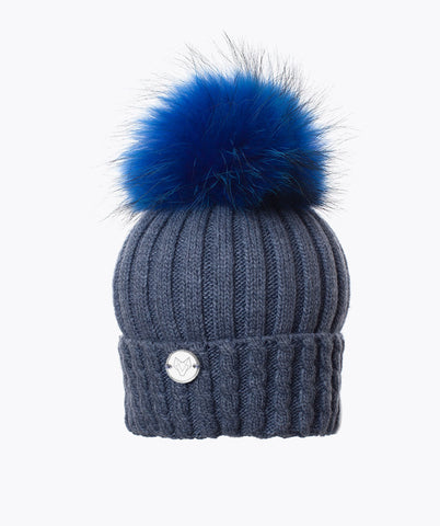BOSTON POM POM HAT  - SKY BLUE