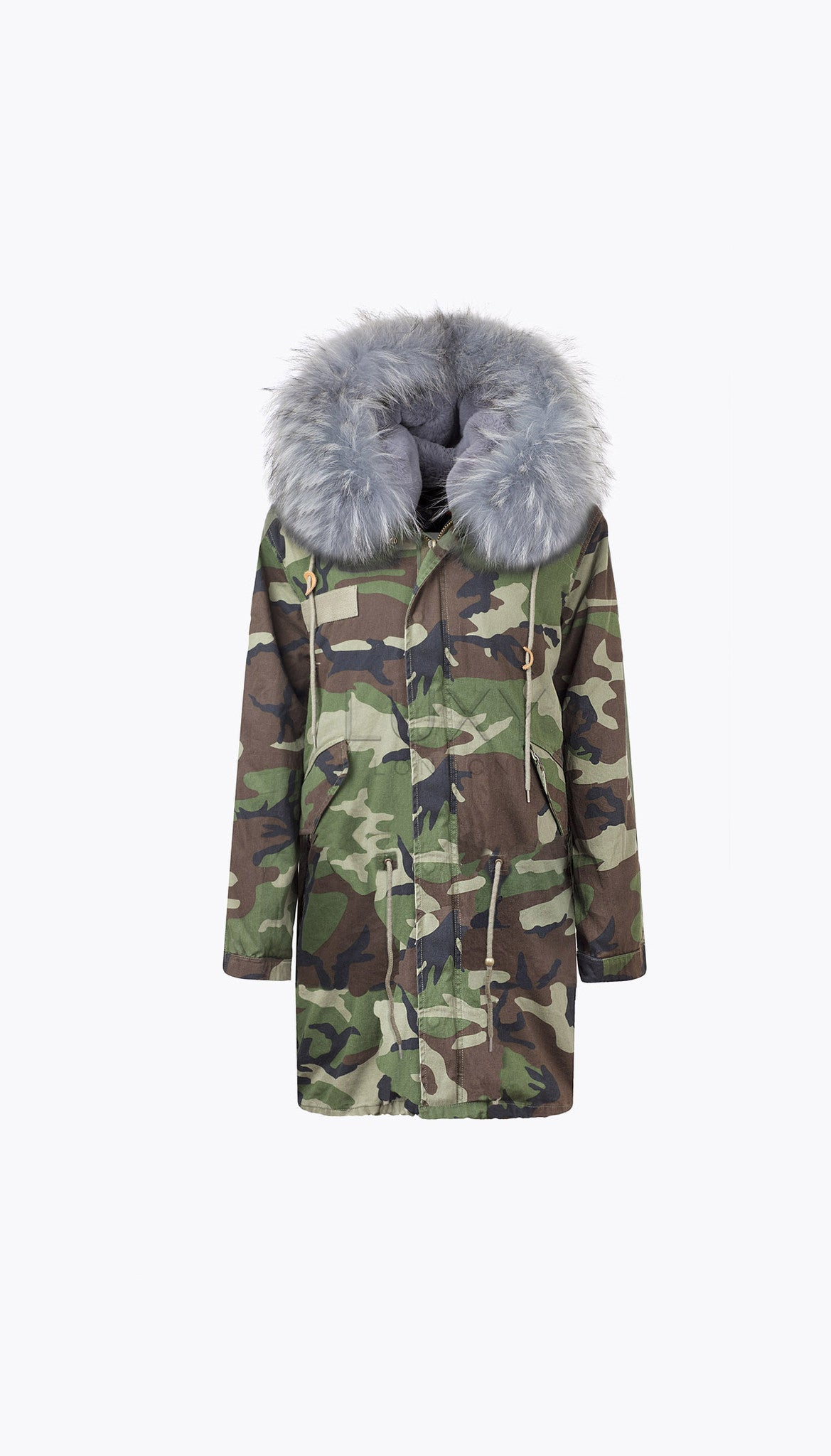 MEN'S CAMO LUXY FUR PARKA - 3/4 DOVE GREY