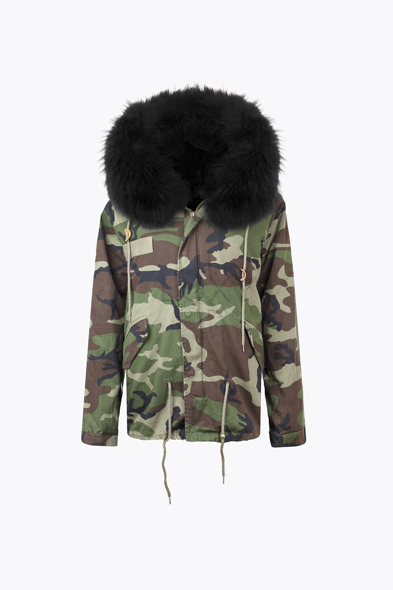 MEN'S CAMO LUXY FUR PARKA - BLACK