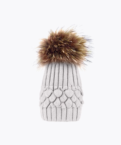 Ava Pom Pom Hat - Light Grey