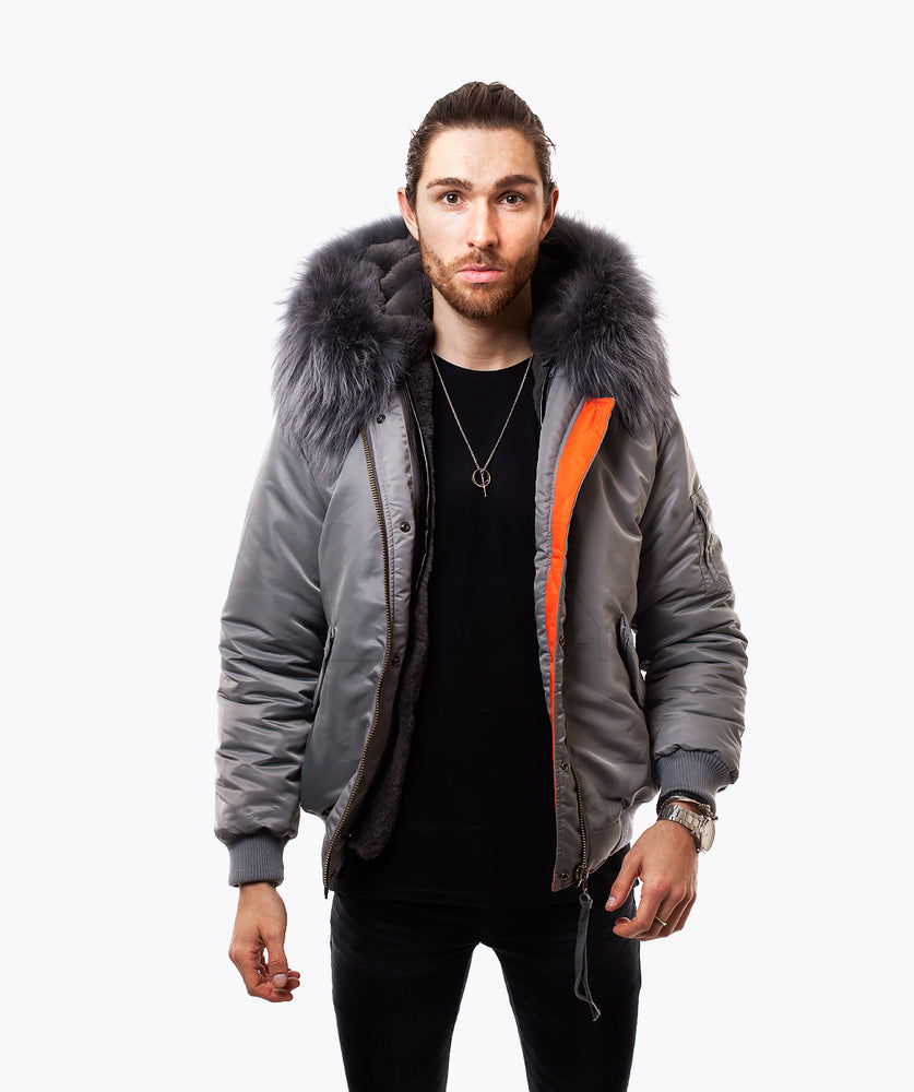 GREY LUXY MENS BOMBER - GREY