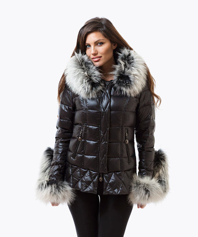 Black Quilted Down Jacket - Ice White