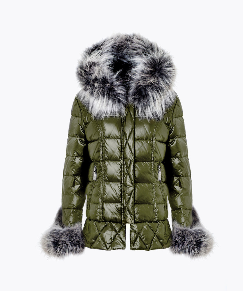 KHAKI QUILTED DOWN JACKET - ICE WHITE