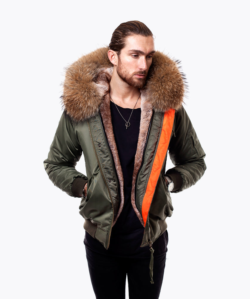 KHAKI LUXY MENS BOMBER - NATURAL
