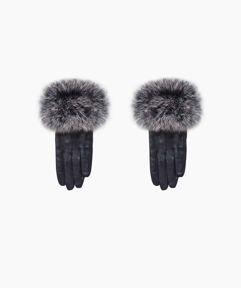 Mist Leather and Fox Fur Gloves