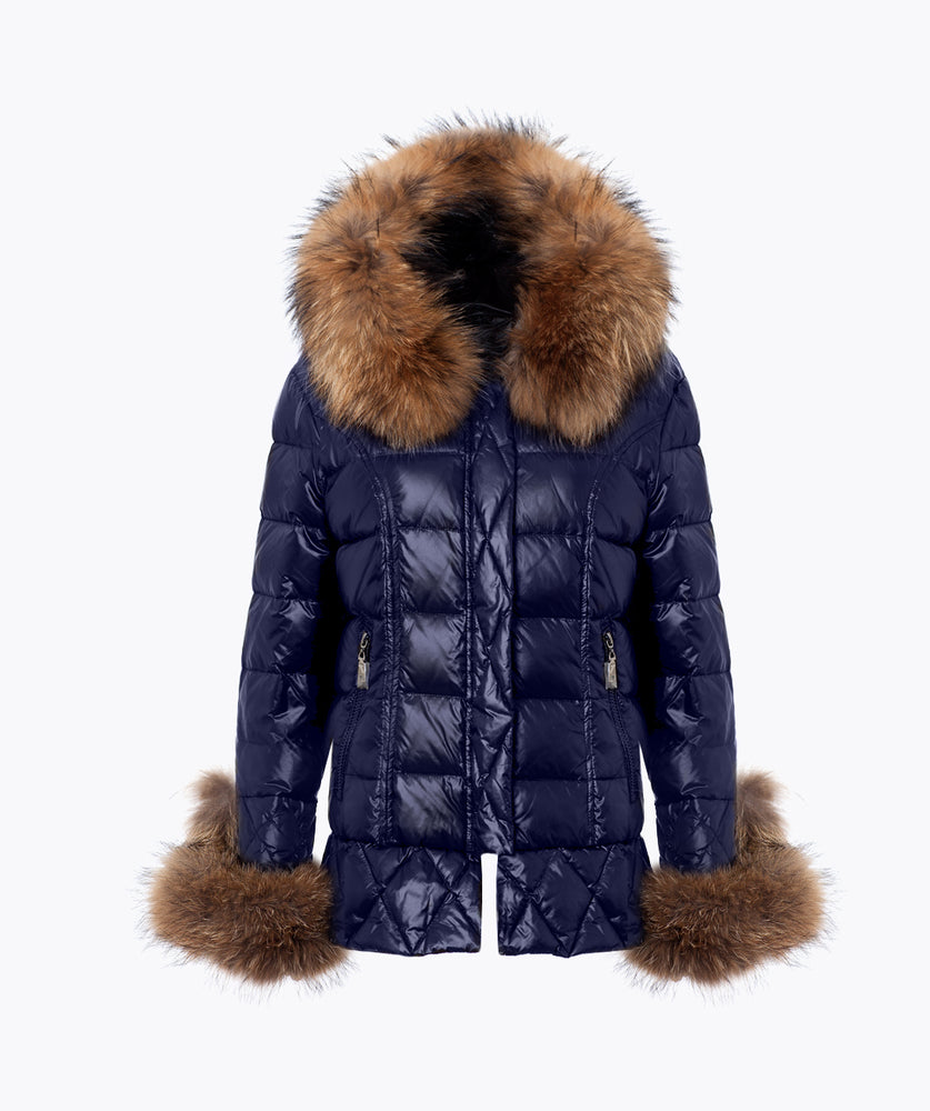 NAVY QUILTED DOWN JACKET - NATURAL
